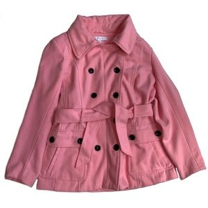 NY&CO PINK DOUBLE BREASTED WOOL BLEND PEACOAT